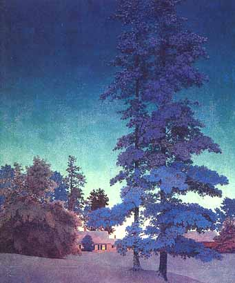 Maxfield Parrish - Winter Night Landscape